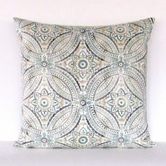 Seafoam Pillow Cover Geometric Floral Decorative Throw Accent