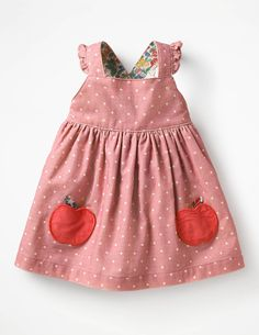 The Polka Apple Dress from Jadey's Closet Dress Boutique fashion clothing for baby, infant, toddler, kids, children. Little Girl Outfits, Toddler Outfits, Baby Boden, Mini Boden, Toddler Dress Patterns, School Dance Dresses, Apple Dress, Pinafore Dress, Everyday Dresses