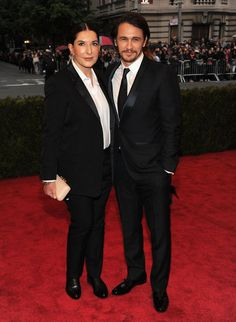 oh wow! James Franco posing with Marina Abramovic at the Met Gala 2012. who would have known they knew each other?