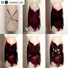 #Repost @verakso_nail with @repostapp ・・・ Черная Лилия♥ Извиняюсь, что 3 типса непонятно. На этом шаге мы затемняем черным цветом сердцевину цветка и отделяем по бокам листики. Ручная роспись гель-лаками. #mk_verakso  #вераксо_ботан#мкногти