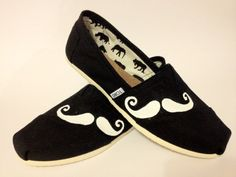 MOVEMBER Mustache  Toms Shoes by KayKreativeStudio on Etsy, $90.00