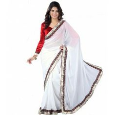 #Designer Suit #Party Wear Saree Shop now : http://www.valehri.com/white-georgette-with-velevet-free-size-stitched-blouse-1580