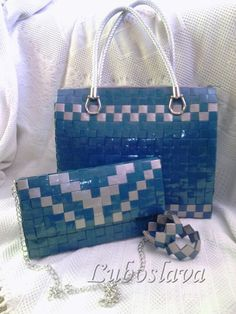 Recycle Newspaper, Candy Wrappers, Candy Bags, Beaded Bags, Duct Tape, Plastic Canvas, Louis Vuitton Damier, Origami, Diy And Crafts