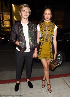 Date night: Pop singer Ross Lynch, 21, showed up with Australian actress Courtney Eaton, 2...