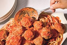 Spaghetti and Meatballs- Bon Appetit. Made this for dinner tonight and it was the best spaghetti and meatballs I've ever had! Best Meatballs, Italian Meatballs, Spaghetti And Meatballs, Spaghetti Sauce, Parmesan Meatballs, Pork Meatballs, Meatball Recipes, Beef Recipes, Cooking Recipes