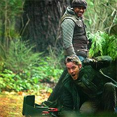 "Sean McGuire as Robin Hood and Raphael Alejandro as his son Roland from the TV Show ""Once Upon A Time""."