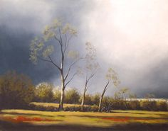 Original Landschaftsmalerei von Bäumen am Nachmittag Sturm - Soft Pastel Malerei 16 x 20 cm