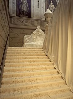 Wrapped Floors and Stairway and Covered Windows was installed in the historic part of Palazzo Bricherasio in Turin in 1998. The indoor installation coincided with the artists' personal exhibition in the modern part of the museum.