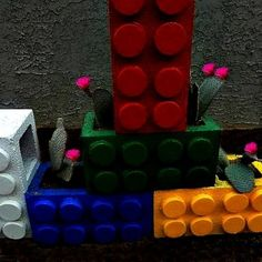 How To Recycle Cinder Blocks Into A Colorful Lego Planter