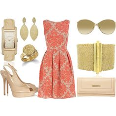 Damask with Nude Accessories, created by talentlesstwit on Polyvore