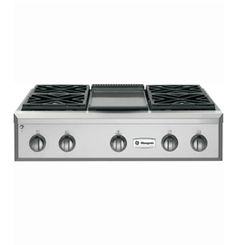 "GE Monogram 36"" gas cooktop with 4 burners and griddle"