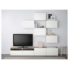 IKEA - BESTÅ TV storage combination walnut effect light gray,