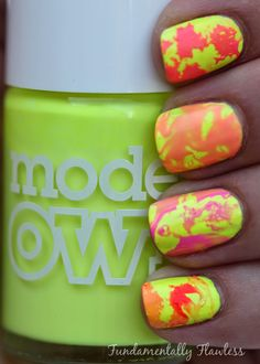 Fundamentally Flawless: Triplet Nails: Water Spotted with Models Own Polish For Tans and Ice Neons