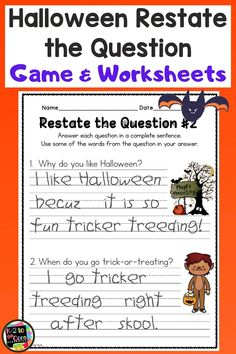 Here's a fun and engaging way to practice restating the question, answering with a complete sentence, and question words...HALLOWEEN STYLE! Start by reviewing question words with an anchor chart: who, what, when, where, why, how. Next is an active circle game, practicing restating the Halloween questions verbally. Last, extend that practice by having your students write their answers to questions about Halloween. #halloween #halloweengame #halloweenwriting #halloweenreading #restatethequestion First Grade Activities, Kindergarten Activities, Writing Activities, Teaching Resources, Reading Lessons, Writing Lessons, English Language, Language Arts, Halloween Questions