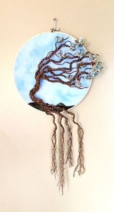 God's Promise to the Dogwood Tree by Bonnie Samms-Overley Fiber ~ 10.5 inches diameter x 10.5 inches diameter