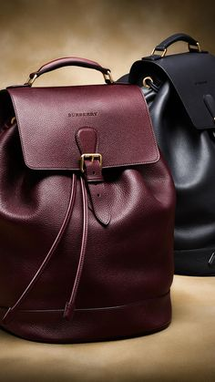 Grainy Leather Backpack Mahogany Red | Burberry