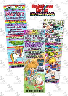 """Rainbow Brite Invitations & matching Party Supplies available ...This ticket style invitation in the Rainbow Brite theme will """"WOW"""" your party guests. Customized just for you; party supplies to match are available.. 10 different design styles to choose from... http://www.bonanza.com/listings/U-Print-Rainbow-Brite-ticket-invitation-Party-Supplies-available/125324191?fref=9E8fn"""