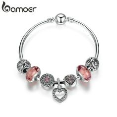 Calvas Real 925 Sterling Silver Bead Heart Birthstone Charms Beads for Original DKG Womens Bracelets Necklace DIY Jewelry Color: 11