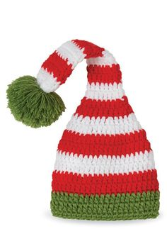 8d7bde95314 The Gift Pod Elf Hat. Mud Pie babyElf hatCrochet EdgingsBaby Girl capsRed  stripesInfant ...