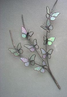 3D Butterfly Branch by Michele Hubble, Starlight Glassworks #StainedGlassJewelry