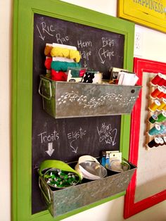 There are many ways you can upcycle kitchen items and turn them into useful items around your home. Cabinet Door Crafts, Cabinet Doors, Space Crafts, Fun Crafts, Craft Space, Craft Rooms, Diy Chalkboard, Sewing Rooms, Room Organization