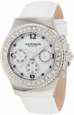 Akribos XXIV Women's AKR449W Ultimate Swiss Chrono White Watch Akribos XXIV. $129.99. Swiss Quartz multi function movement. Rotating fluted bezel features genuine crystals. Screw-in stainless steel case back. Highly polished stainless steel case with genuine crystals. Water-resistant to 330 feet (100 M). Save 80% Off!