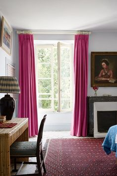 White Bedroom with Pink Curtains, farmhouse bedroom,  in the eighteenth-century French country home of textiles dealer Susan Deliss - deep in rural Burgundy with traditional colourful interiors.