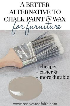 The Best Alternative to Chalk Paint – SO much cheaper & easier! This furniture paint is easy to use and the tutorial shows techniques and unlimited color options. The tutorial also shows how to chalk paint with dark wax alternative and how to use Valspar Refurbished Furniture, Farmhouse Furniture, Repurposed Furniture, Cheap Furniture, Furniture Projects, Furniture Makeover, Barbie Furniture, Garden Furniture, Furniture Design