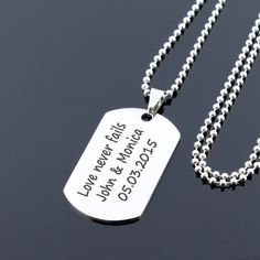 Custom Mens Dog Tag Military Necklace navy necklace