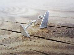 Silver Minimal Geometric Studs  Sterling Silver Nugget by ANNACID