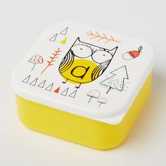 Alphabet Owl Square Lunch Box ($7.54) ❤ liked on Polyvore featuring home, kitchen & dining, food storage containers, owl lunch box and square food storage containers