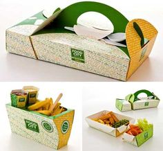 Judging a product by its package is how we shop, and designing packaging is hard work. These creative packaging concepts are all bold enough to grab attention. Innovative Packaging, Cool Packaging, Food Packaging Design, Brand Packaging, Packaging Boxes, Paper Packaging, Restaurant Design Vintage, Food Design, Creative Design