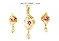 22K Gold Pendant & Earring Set With Cz & Color Stones: Totaram Jewelers: Buy Indian Gold jewelry & 18K Diamond jewelry