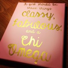 Chi Omega canvas for big/little basket #chiomega #sorority #craft
