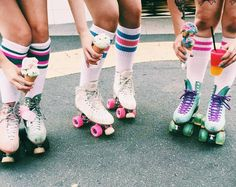 Life is better with wheels on your feet and ice cream in your hand #vintage #rollerskates #icecream #style