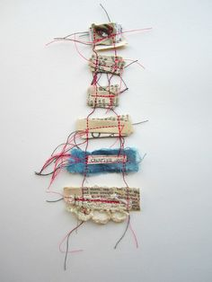 """Emma Parker, Stitch Therapy- Memory Threads """"Collect your memories carefully; fold them up and bind them together with a strong thread; lest we forget the fragile beauty; hidden in today's moment. Textiles, Book Art, Sculpture Textile, Textile Artists, Art Plastique, Art Therapy, Fabric Art, Altered Art, Fiber Art"""