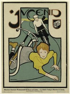 Woman after Falling from Bicycle by Bruno Paul for Jugend. 1896.