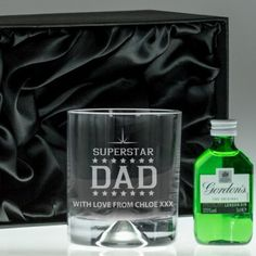 Engraved Dimple Base Tumbler and Gin Set - Superstar Dad