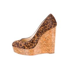 64.60$  Buy here - http://ali4o7.worldwells.pw/go.php?t=32407299181 - BC women shoes Brown and tan leopard print   wedges with lacquered cork heels 64.60$