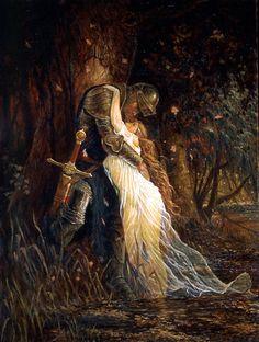 Merlin et Morgane par Frank Schoonover de King Arthur , 1932