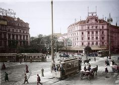 Berlin, Potsdamer Platz.  Tram on Potsdamer Platz. On the right the Hotel Bellevue.  Photo, 1908 (Otto Haeckel); digitally coloured.