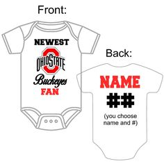 Newest Ohio State Buckeyes OSU Fan Custom Made Personalized Football Gerber  Onesie You Choose Name Number c8a9100a3
