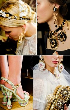 #golden #age #photoshoot #gold #and #black #baroque #runway #fashion #details #jewelry #jewel #accessories #heels