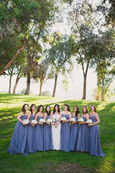 Periwinkle blue bridesmaids | Photography: Closer To Love Photography - closertolovephotography.com  Read More: http://www.stylemepretty.com/california-weddings/2014/05/05/rustic-romantic-temecula-creek-wedding/