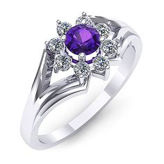 Inel de logodna din aur alb, cu un ametist rotund si diamante Vampire Diaries Jewelry, Aur, Sapphire, Fashion, Wedding Rings, Moda, Fashion Styles, Fashion Illustrations