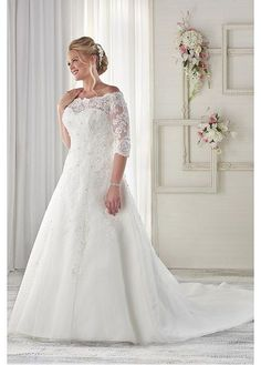Marvelous Tulle Off-the-shoulder Neckline A-line Plus Size Wedding Dresses with Beaded Lace Appliques #wintersale