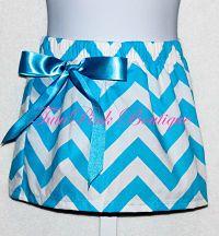 Chevron Bow Skirt Turquoise & White