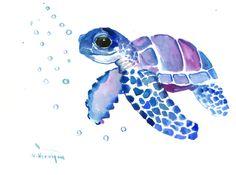 Blue Purple Sea Turtle, Original Watercolor artwork, blue watercolor wall art, nursery art, children illustration by ORIGINALONLY on Etsy