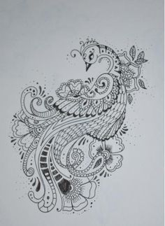 peacock and peahen Mehndi design