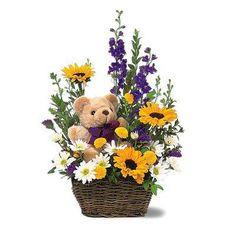 Teddy Bear Basket Arrangement